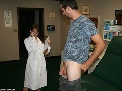 Sexy nurse Jenna Jaded whips on her latex gloves and instinctively tugs away at his large dick making him spurt out a nice big semen sample for testing